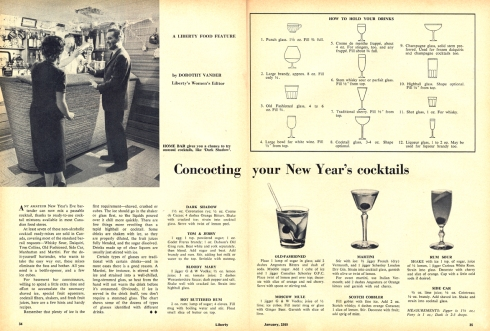 New Year's Cocktails. From Liberty Magazine December 1959.